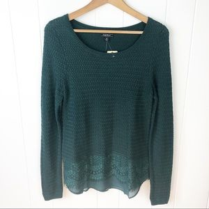 Lucky Brand•Green sweater with lace trim NWT